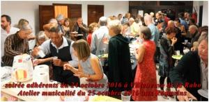 soirée adhérents du 24 octobre 2016 à Villenueve de la Raho Atelier Musicalité du 25 aux Romarins