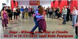 Stage - Milonga avec Pilar et Claudio les 17 et 18/12/2016 salle Bolte Perpignan