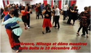 Conférence ,Milonga , démo de César et Virginia le 10 décembre 2017